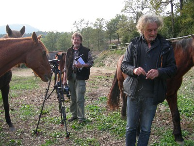 Two men and a camera amongst some horses.